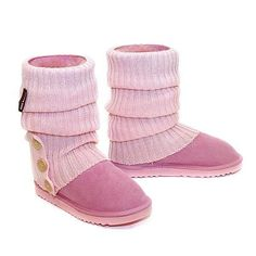 Knitted Ugg Socks & Short Deluxe Boots - Candy Pink