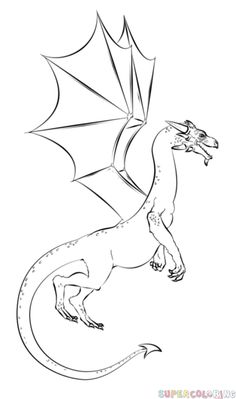 Super Coloring - Free printable coloring pages, coloring sheets, coloring book, coloring pictures Cartoon Drawing Tutorial, Cartoon Drawings, Animal Drawings, Drawing Sketches, Drawing Animals, Easy Dragon Drawings, Realistic Drawings, Easy Drawings, Drawing Tutorials For Kids