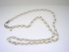 Faux pearl linked beads bead art deco style necklace by badgestuff, $3.00