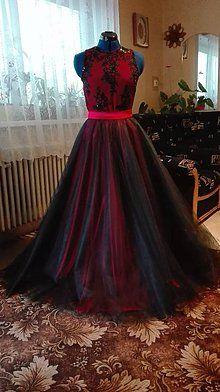 Šaty - Spoločenské šaty, body a kruhová sukňa - 8911018_