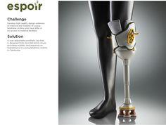 Espoir - A prosthetic leg for young landmine victim by Yoony Byun, via Behance