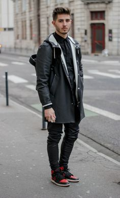 princeinjeans:  Black outfit : - Jacket Stutterheim - Pants by LANOIR - Air jordan 1 Bred - Model: Nicolas Lauer - Photograph: Lucas Jesus Chaunay