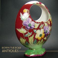 Hand Painted Open-Handle Basket Vase - 1920's from Down The Road Antiques on Ruby Lane