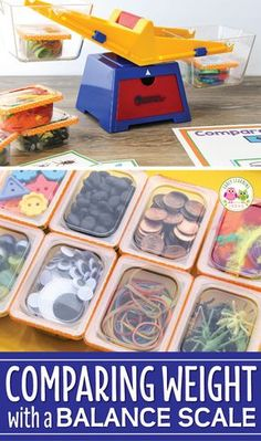 Use this fun activity featuring measurement for kids in your math or STEM learning center. Kids weigh containers of everyday objects in a bucket balance scale. Kindergarten Lesson Plans, Kindergarten Learning, Stem Learning, Learning Numbers, Preschool Classroom Centers, Hands On Learning, Literacy Centers, Early Learning, Classroom Decor