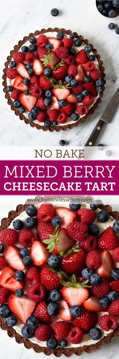 My favorite Summer Berry Cheesecake Tart! A beautiful and classic fruit tart packed with strawberries, raspberries, and blueberries and a sweet and indulgent cheesecake filling. This no bake tart is perfect for a crowd! And so easy to make! via forkknifeswoon.com #vegetarian #glutenfree #berry #dessert