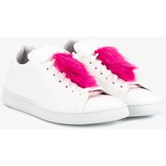 Joshua Sanders Leather Sneakers With Faux Fur ($275) ❤ liked on Polyvore featuring shoes, sneakers, round toe sneakers, leather shoes, leather low top sneakers, leather trainers and flat sneakers
