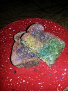 Our painted bread grilled cheese! Milk, food coloring, them toast it. Kids loved this and so did I! Remember doing this in head start