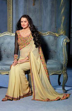 #beige #Saree #Blackblouse #Designerblouse #CasualSaree