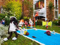Knit wit! Suzanne creates miniature Olympics in front garden (but Usain seems to have bolted) - Cultural Olympiad - Olympics - Evening Standard