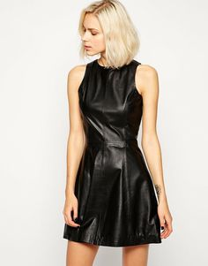 Jumpsuit Dress, Skater Dress, Dress Skirt, Black Leather Dresses, Leather Skirts, Leather Outfits, Asos, Mode Online, Elegant