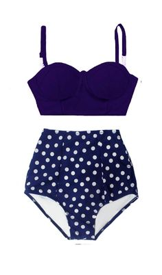 Navy Blue Underwire wire wired Top and Polka dot dots High Waisted Waist Shorts Bottom Swimsuit Swimwear Bikini Bathing suit Women S M L XL by venderstore on Etsy