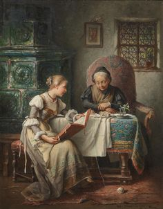 In the Parlour. Rosa Schweninger (Austrian, 1849-1918). Oil on panel. Schweninger was a member of a Viennese family of artists, which included her father, Carl Schweninger the Elder. She studied at the University of Applied Arts in Vienna with...