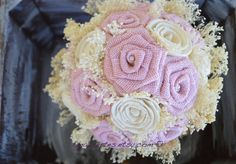 Pastel Pink Burlap and Sola Bouquet by EmaCreates on Etsy