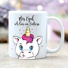 """**Kaffee Tasse Spruch """"Mir egal, ich bin ein Einhorn"""" mit süßem Einhorn (Motiv T225)** **Das BESONDERE:** **Beide Seiten der Tasse sind bedruckt**, so dass die Tasse sowohl für Rechts- als auch..."""
