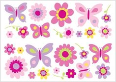 Butterfly Garden Wall Stickers (01492) - Brewers Wallpapers - Pretty Butterfly Garden wall stickers - showing in Pink and purple. SAMPLES NOT AVAILABLE. co-ordinating wallpaper available. Total size - 33.7 x 19.8