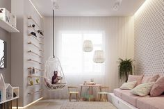 The nursery plays with pastel and quirky prints, achieving a cute simplicity. Billowing white chiffon backgrounds a white filigree hanging chair and hexagonal Chinese lighting. A spotted wall in muted colouring acts the same as the woolly beige rug, adding softness. Light wood and LED lights alternate in dolls houses, clothing railings, a baby table and chairs, skirting and feature ladybirds. Pastels pop everywhere in-between in baby pink, mint, light lemon yellow and lounge-reminiscent…