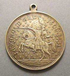 Joan of Arc Antique French Religious Medal Catholic by davidjp1927