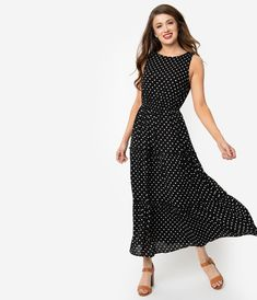 c96ed434e8b5 Vintage Style Black & White Polka Dot Sleeveless Maxi Dress. Unique Vintage