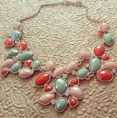 $27.00 Peach, Coral and Mint Color Stone Chain Statement Necklace, Bib Necklace, Bubble Bib Necklace,. by vivalajewel via Etsy. #necklaces #jewelry #bib #statement necklace #necklace #fashion #style #pink #peach #coral #green