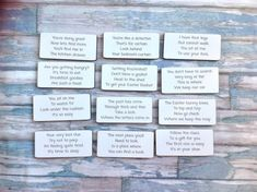 Set of 12 laser engraved and laser cut wooden cards. Clue cards to create a fun Easter egg hunt or treasure hunt game for the kids. Game Cards, Card Games, Treasure Hunt Games, Easter 2018, Scavenger Hunt For Kids, Getting Hungry, Disney World Trip, Mother And Father, Egg Hunt