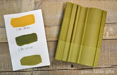 Chalk Paint® mix of Arles & Olive with clear wax, tinted wax, and dark wax. Follow Green Table Gifts on Facebook for Mixology Monday! #chalkpaint #colormix #green