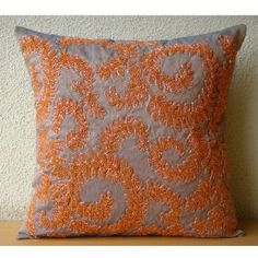 Orange Whirlwind - Decorative Pillow Covers - Silk Pillow Cover Embellished with Beads & Sequins :     Price: $60.75    .        Orange Whirlwind - Decorative Throw Pillow Cover. This Pillow Cover is made in a two tone orange and blue Art Silk Dupioni Fabric embroidered with orange and light orange beads to create a ivy whirlwind design on the pillow cover. Materials Used - Two Tone Silk, Sequins. T...Check Price >> http://gethotprice.com/appin/?t=B0088IT0G6