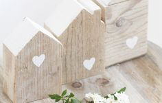 Kit 3 casette in legno di recupero con decorazioni a stencil