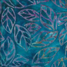 Bali Batik Leaves in Teal Fabric