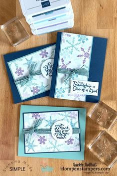 The Snowflake Wishes stamp set will keep you busy making cards all winter long and these are simple cards to make which makes them great to mass produce. Learn more at www.klompenstampers.com #christmascardideas #handmadechristmascards #cardmaking #cardmakingsupplies #cardmakingtutorials #cardvideos #klompenstampers #jackiebolhuis #stampinup #stampinupcards #snowflakewishesstampinup