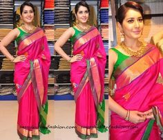 That was a beautiful saree isn't it? Rashi Khanna was spotted wearing this pink saree during the inauguration of RS Brothers Showroom at Kothpet. Pairing the light weight silk saree with a contrasting sleeveless blouse, the actress finished off herlook with a classic hair updo. The choice of her antique temple jewellery and soft pink …