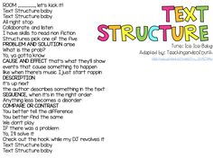 Teaching and so Fourth: Text Structure 6th Grade Ela, 6th Grade Reading, Third Grade, Grade 3, Fourth Grade, Teaching Reading, Reading Resources, Reading Activities, Teacher Resources