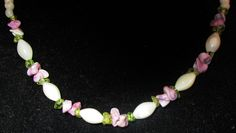 """Jewelry White Mother of Pearl & Peridot Beads and Purple Shells Necklace 19"""""""
