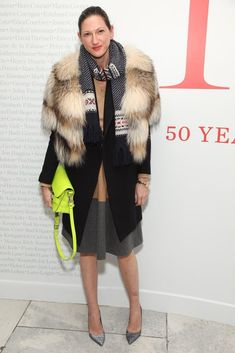 Jenna Lyons Fur and heels juxtaposed against a neon schoolboy satchel and knit scarf adds up to the sort of intrigue we've come to expect from the J. Green Sequin Skirt, Jenna Lyons, Gold Pants, Navy Coat, Casual Belt, Fashion Pictures, Style Pictures, Striped Tee, How To Look Pretty
