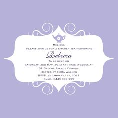 Elsa Square w/ Magnet in Lolly Lavendar Invitation Kitchen Tea Invitations, Tea Party Invitations, Bridal Shower Invitations, Kitchen Tea Parties, Outdoor Tea Parties, Emma's Kitchen, Hens Night, Traditional Design, Celebrity Weddings