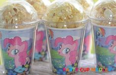 My Little Pony Birthday Party CupsPopcorn BoxSet by PartyCupMedley! My Little Pony Birthday Party, 5th Birthday Party Ideas, Birthday Fun, Cumple My Little Pony, Little Poney, Frozen, Pinkie Pie, Party Cups, Party Snacks