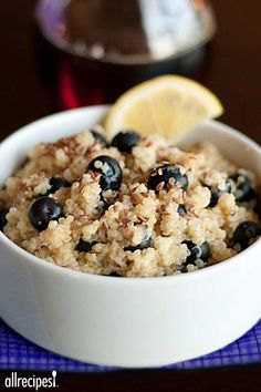 Blueberry Lemon Breakfast Quinoa by allrecipes: Sweet blueberries and tart lemon pair well in this alternative to oatmeal. High in protein and fiber, quinoa is a great start to your day! #Breakfast #Quinoa #Blueberry #Lemon #Healthy