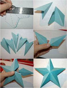 cutting, folding and gluing paper to make an origami star … - Diy Christmas Gifts 3d Origami Stern, Origami 3d, Origami Star Box, Origami Fish, Origami Bookmark, Origami Stars, Origami Paper, Origami Ideas, Origami Star Instructions