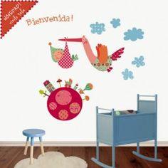 vinilos infantiles de tela cigueña magica Doodles, Wall Decals, Stencils, Kids Rugs, Home Decor, Ideas, Vinyls, Tela, Animals