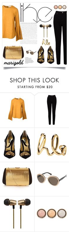 """""""Stay Golden"""" by georgia-sotiriadi ❤ liked on Polyvore featuring Kaelen, EAST, Dolce&Gabbana, Chloé, Nina Ricci, Valentino, Cynthia Rowley, By Terry, contest and gold"""