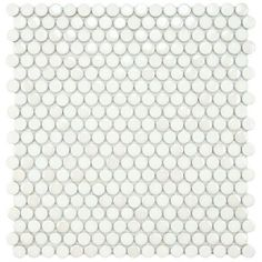 Merola Tile Cosmo Penny Round White 11-1/4 in. x 12 in. Porcelain Wall Tile $6.97 /EA