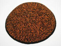 kippah black orange mix by crochetkippah on Etsy