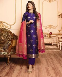 Suit designs indian style violet silk jacquard long suit embroidered net abaya style suit in fawn Silk Kurti Designs, Kurta Designs Women, Kurti Designs Party Wear, Blouse Designs, Salwar Designs, Lehenga Designs, Dress Indian Style, Indian Dresses, Indian Outfits