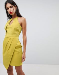 ADELYN RAE TAMI ASYMMETRICAL SHEATH DRESS - YELLOW. #adelynrae #cloth #