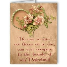 """Antiqued Roses, Hearts and Lace Valentine BIG - Extra Large Valentine card bears an original digital painting of delicate pink roses in a heart shaped wreath, laid on a tea-stained, aged silk and lace cloth. Original poem """"No rose so fair - nor bloom on a vine, can ever compare to the beauty of my Valentine"""" works for any gender or relationship. See all IconDoIt's Valentines @ www.zazzle.com/icondoit+valentine+gifts?rf=238155573613991097&tc=pnt #originalartvalentine #supersizevalentine"""