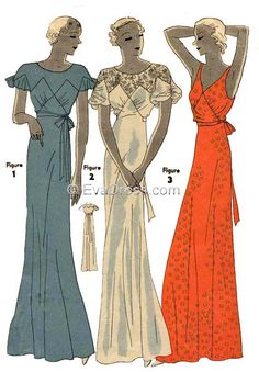 Ladies' Night or Evening Gown Vintage Dress Pattern