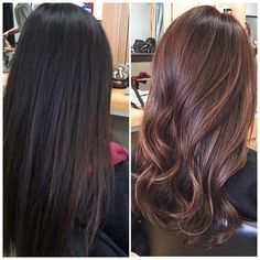 We took our client from all virgin - never dyed - hair to a Warm chocolate brown base & subtle balayage highlights Stylist: kimberly