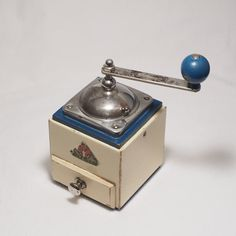 Vintage PeDe DIENES 1609 Coffee Grinder in Blue and by sams531