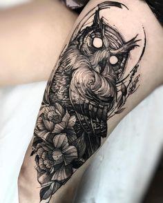 "Fredão Oliveira on Instagram: ""Owl and flowers Done at @inkonik_tattoo_studio #electricink"""