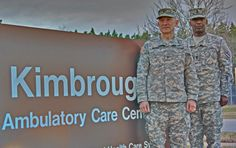 COL Leon Moores, commander, Fort Meade MEDDAC, and SGM Michael Brooks, command sergeant major at Kimbrough Ambulatory Care Center, Fort Meade, Md.