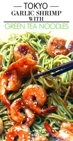 This Tokyo Garlic Shrimp with Green Tea Noodles recipe is SO GOOD! I am definitely making this again, it turned out great! I love Asian noodle recipes so I was happy when I found this and made it for dinner! Those Japanese noodles and shrimp were AMAZING! Asian Noodle Recipes, Asian Recipes, Ethnic Recipes, Japanese Noodles, Asian Noodles, Japanese Food, Seafood Recipes, Vegetarian Recipes, Rice Recipes